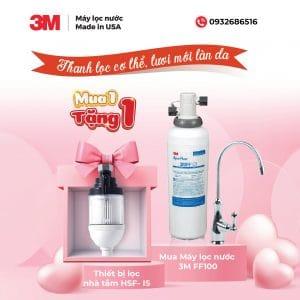 mua máy lọc nước 3m ff100 tặng bộ lọc nhà tắm 3M